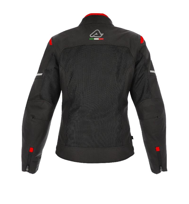 GIACCA MOTO DONNA ON ROAD RUBY LADY NERO ROSSO ACERBIS 3
