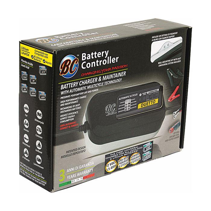 Carica batterie mantenitore per moto BC DUETTO per Litio e Piombo + pinze 3
