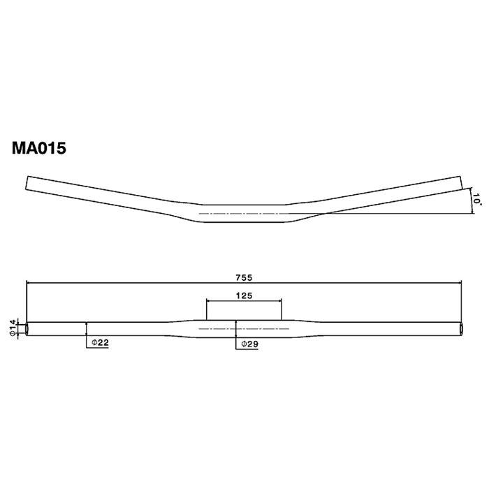 Manubrio Rizoma Drag Bar in alluminio a sezione variabile   MA015 2