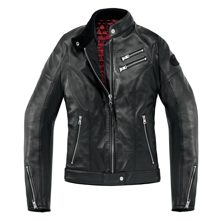 Giubbino moto pelle donna Spidi CAFE RACE nero 1