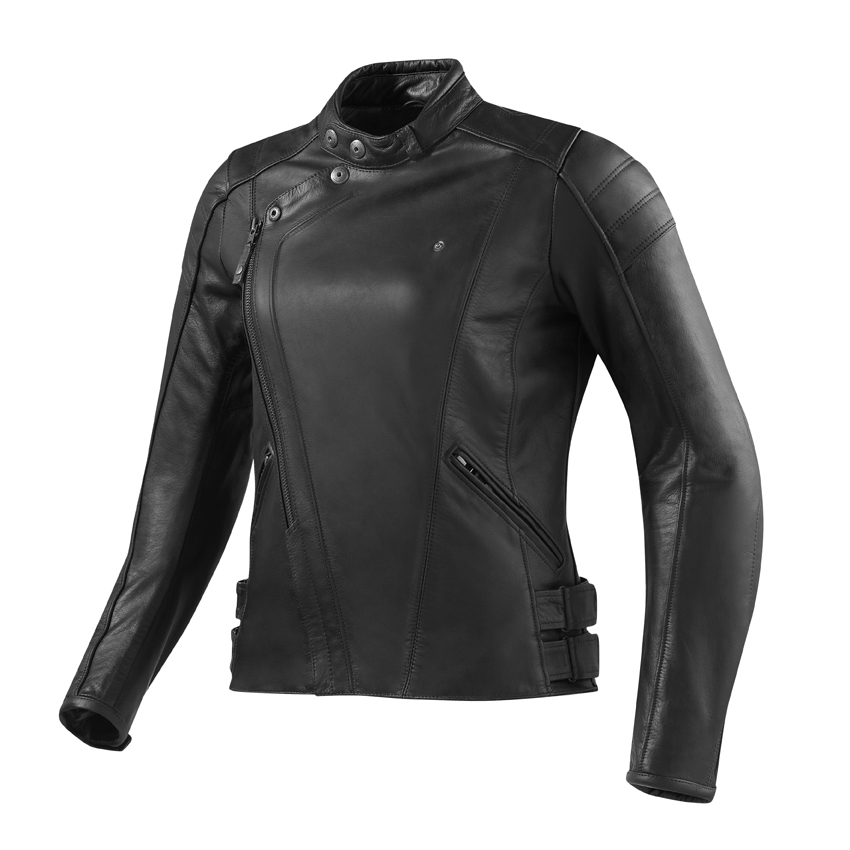 Giubbino moto pelle donna BELLECOUR nero Rev'it 1