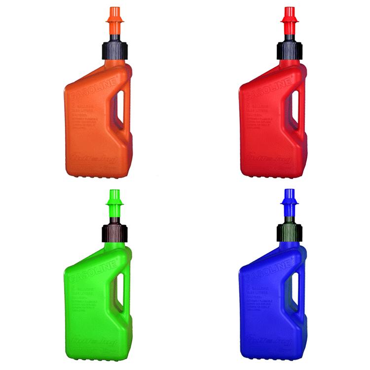 Tanica rifornimento rapido con stop a serbatoio pieno Tuff Jug da 10 litri arancio blu rosso verde