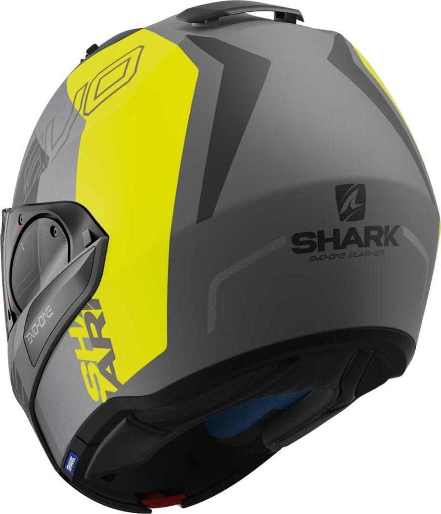 Casco modulare Shark EVO-ONE 2 SLASHER Matt Grigio Giallo Fluo 2