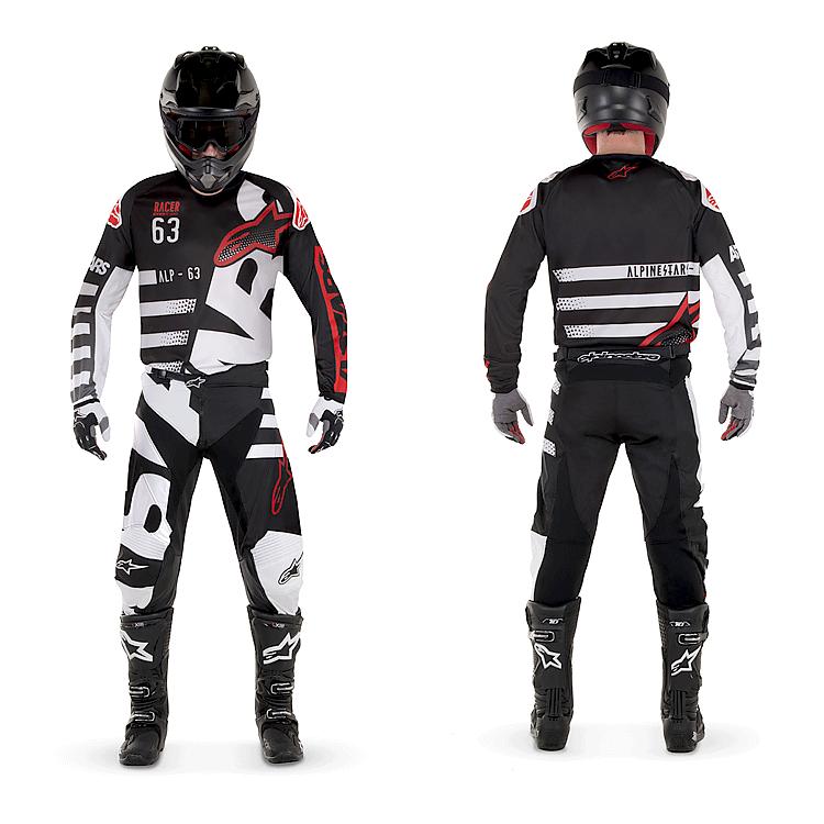 Completo cross enduro Alpinestars RACER TACTICAL 2018 nero rosa fluo maglia+pantaloni