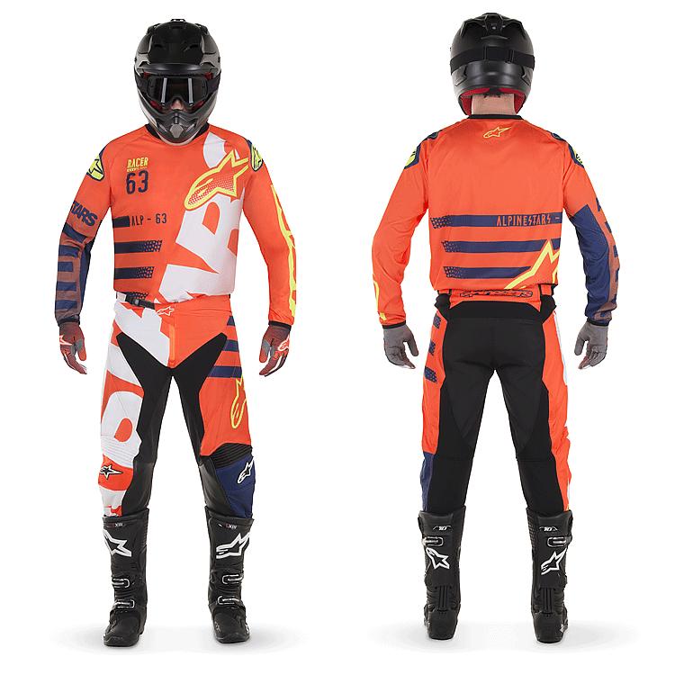 Completo cross enduro Fox 180 SAYAK Orange Blue 2018 pantaloni+maglia